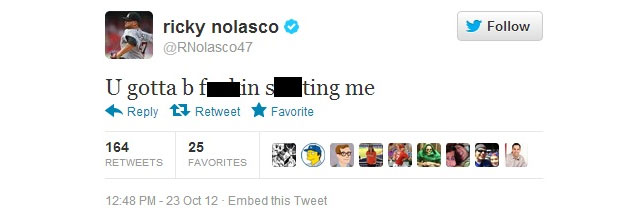 Ricky Nolasco's since-deleted tweet. (Via Larry Brown Sports)