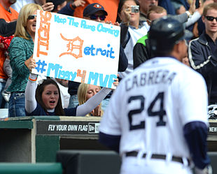 This girl's sign also helped persuade bettors to go with Cabrera (Getty).