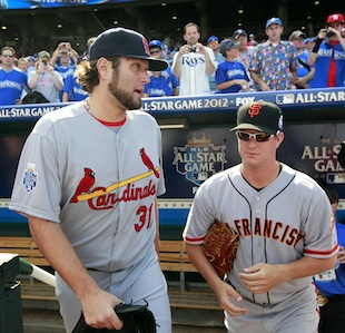 Lance Lynn and Matt Cain at the 2012 All-Star game. (AP)