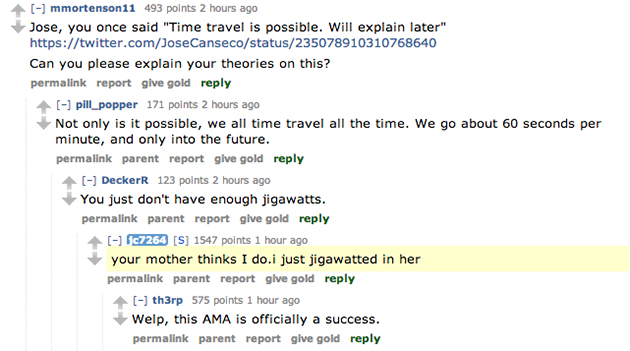 Mom jokes, a celebrity threesome and other odd moments from Jose Canseco's Reddit AMA