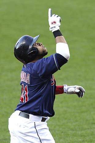 Carlos Santana of the Indians leads the league in hitting. (AP)