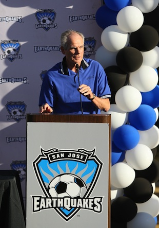 San Jose Mayor Chuck Reed announcing the groundbreaking of a new stadium for the Earthquakes soccer team. (Getty Images)
