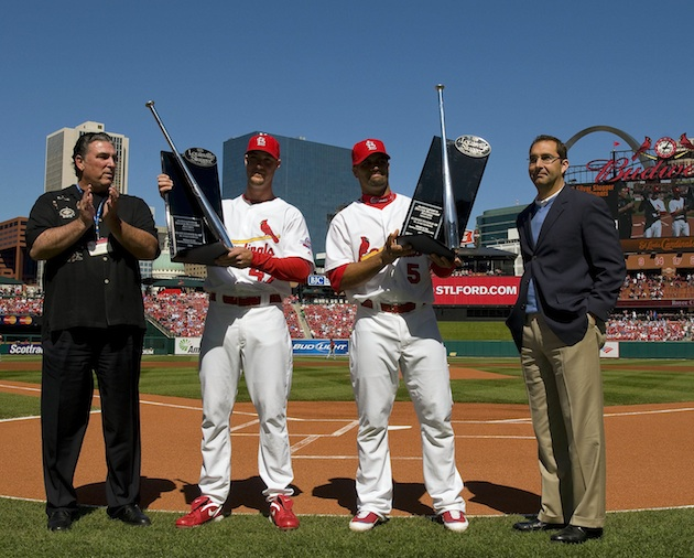 Jack Clark, far left, helped present a Silver Slugger award to Albert Pujols, middle right, in 2009. (USA Today)