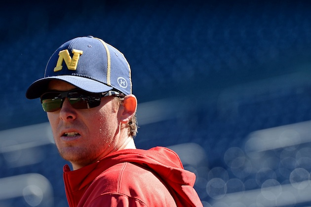 Relief pitcher Tyler Clippard sports a Navy cap. (Getty Images)