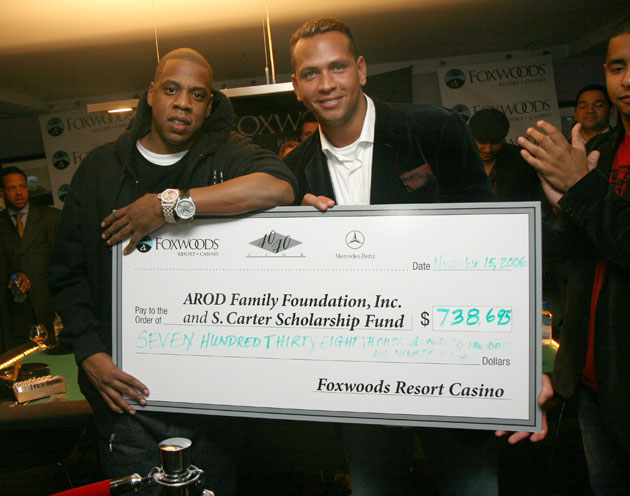 Jay-Z and Alex Rodriguez at their charity poker tournament in 2006. (Getty Images)