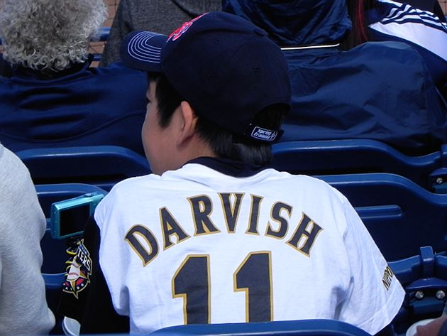 The boy wore the coolest jersey in the stadium: A Yu No. 11 from the Nippon Ham Fighters. (Big League Stew)