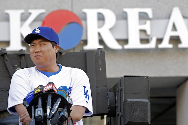 New Dodgers pitcher Ryu Hyun-jin, a Korean import, speaks to fans in Los Angeles' Koreatown. (AP)