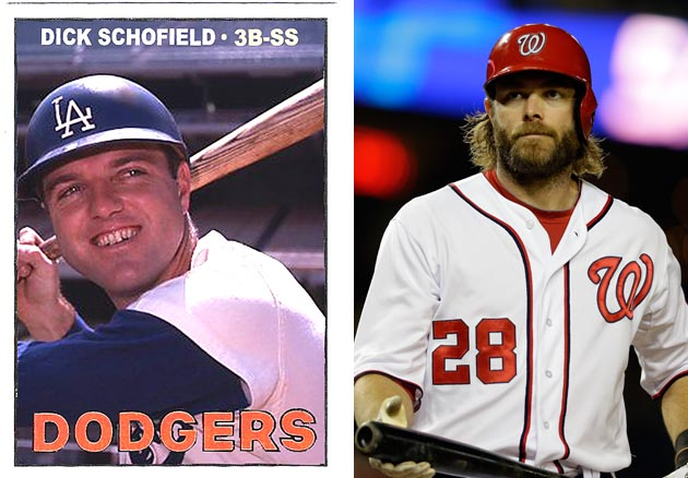 Schofield's 1967 Topps card, with Werth on the right. (AP)