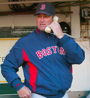 Farrell as Red Sox pitching coach in 2009. (Getty)
