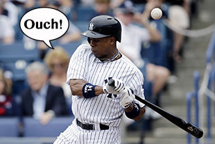 A fractured forearm will sideline Curtis Granderson for 10 weeks. (AP/BLS Illustration)