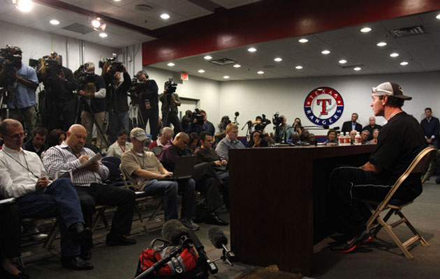 Josh Hamilton met with the media on Friday afternoon. (AP)