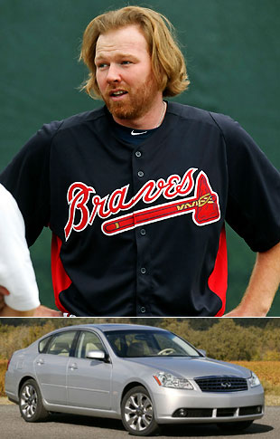 Atlanta pitcher Tommy Hanson wants to sell the car that led to his concussion. (AP/Infinity)