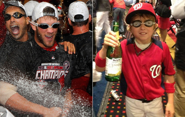 Bryce Harper and Drake LaRoche partied down on Monday night. (US Presswire/@HoldenRadio)