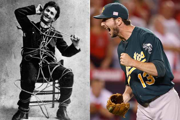 Magician Harry Houdini and Oakland reliever Jerry Blevins (AP photos)