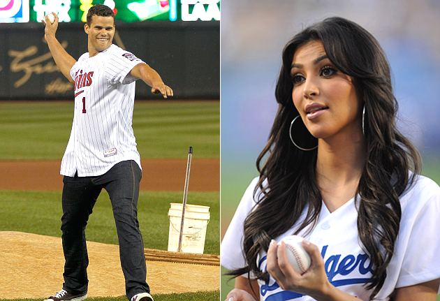 The brief marriage of Kris Humphries (left) and Kim Kardashian has produced a signed baseball. (AP, Getty)