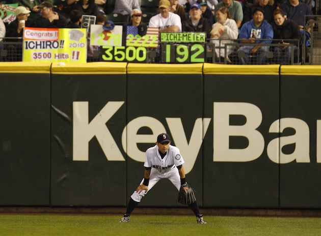 The 'Ichimeter' was a familiar sight at Safeco Field during Ichiro's tenure. (AP)