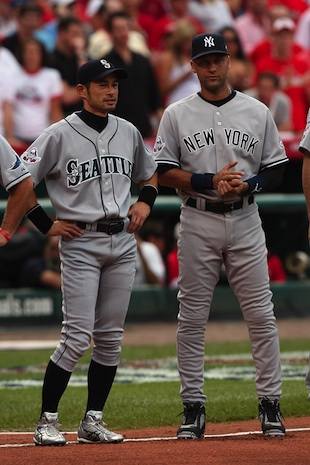 Ichiro and Derek Jeter at the 2009 All-Star game (Getty)