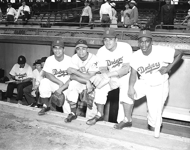 Roy Campanella (left), Larry Doby, Don Newcombe and Jackie Robinson at the 1949 All-Star Game. (AP)