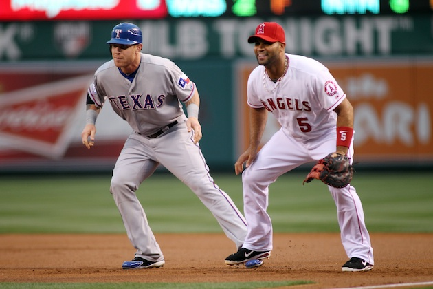 Once AL West rivals, Josh Hamilton and Albert Pujols are now teammates. (Getty Images)