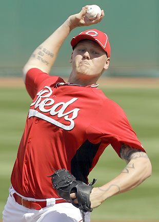 Mat Latos gave up two runs over three innings on Sunday. (AP)