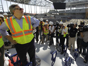 Marlins owner Jeffrey Loria tours Miami's new ballpark last February. (AP)