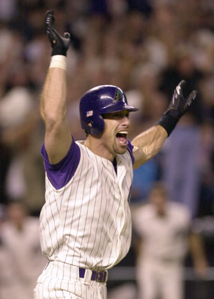 Luis Gonzalez celebrates winning the 2001 World Series. (AP)