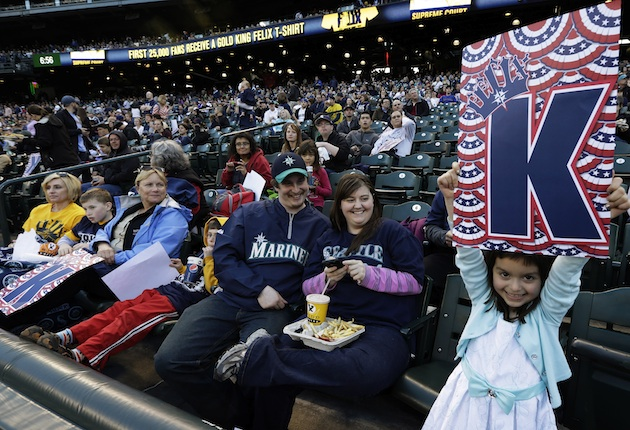 Mariners fans were excited Monday — even to be watching the game on TV. (AP)