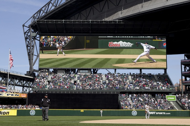 An illustration of Safeco Field's new scoreboard (Seattle Mariners)