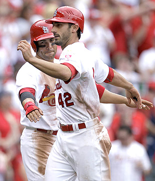 Carlos Beltran (left) is hurt and Matt Carpenter has replaced him. (AP)