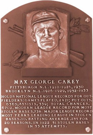 Max Carey's Hall of Fame plaque