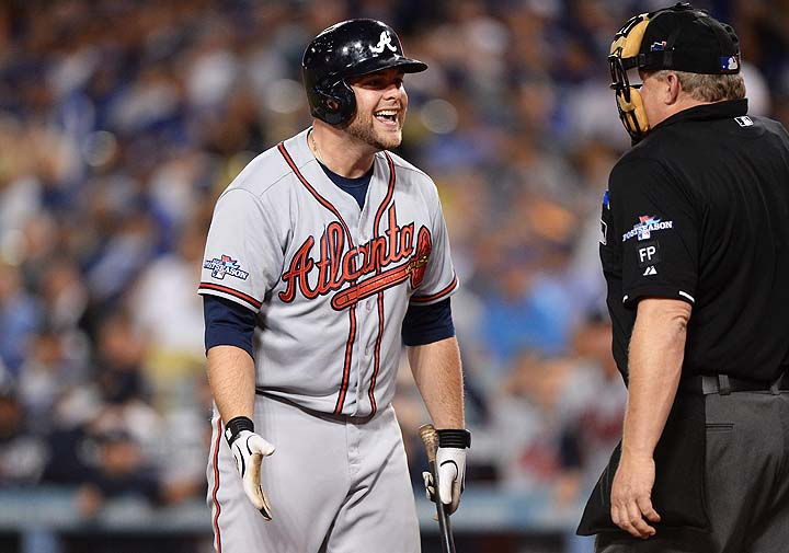 'You are ruining what might be my last day with the Braves, blue!' (Getty)