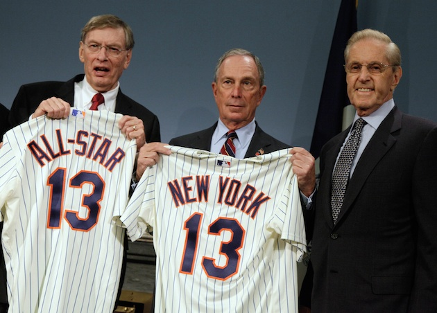Bud Selig, Michael Bloomberg and Fred Wilpon at Wednesday's announcement. (AP)
