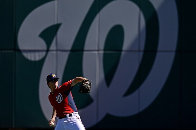 Nats pitcher Erik Davis warms up before Tuesday's game. (Getty Images)