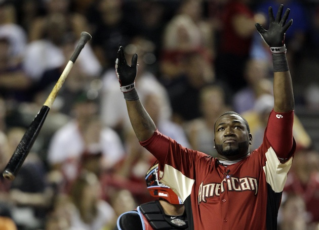 "David ""Big Papi"" Ortiz celebrates a home run in the 2011 Home Run Derby (AP)"
