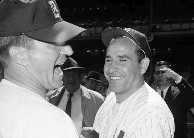 Pesky and Yogi Berra in 1964. (AP)