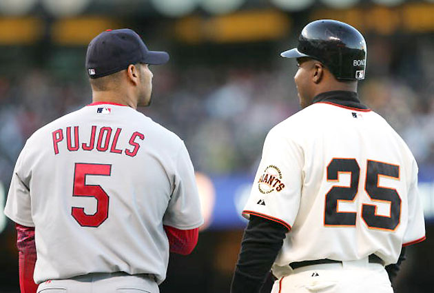 Albert Pujols will be paid $7 million if he passes Barry Bonds on the all-time homer list (AP)