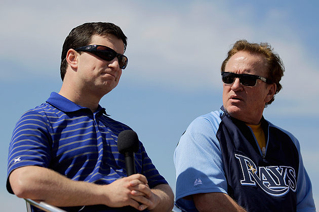 Rays GM Andrew Friedman (left) and manager Joe Maddon hope to have assembled another playoff team. (AP)