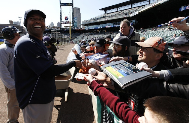 Here is Mariano Rivera signing autographs, but he's also doing private meet-and-greets in each city. (AP)