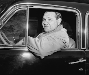 Babe Ruth driving a different car in 1946. (AP)