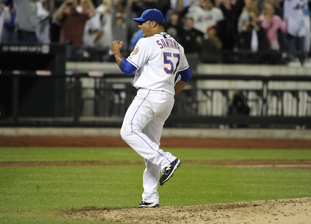 Johan Santana celebrates after his no-hitter on Friday, the first in Mets' franchise history. (AP)