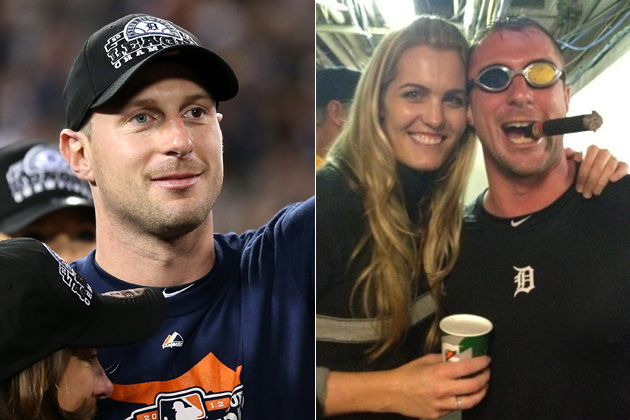 Max Scherzer's girlfriend gave him a pair of mismatched goggles after the ALDS win. (Getty Images/@emaysway)