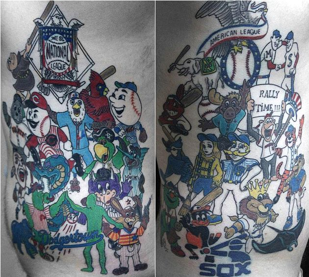 A tattoo artist has spent about 33 hours illustrating baseball fan Benjamin Christensen.