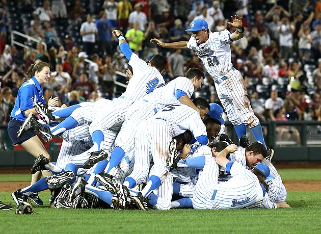 UCLA beat Mississippi State 8-0 to win the College World Series. This is UCLA's reaction. (Getty)