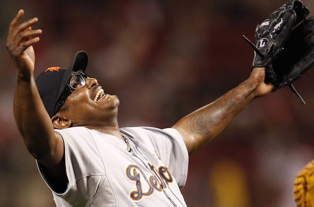 Jose Valverde celebrates Sunday's save in Cincinnati. (US Presswire)