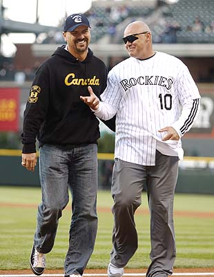 Larry Walker on the left, with Dante Bichette (AP)