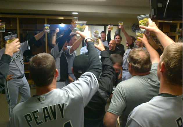 The White Sox toast Philip Humber after Saturday's perfect game. (@WhiteSox)