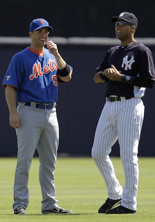 David Wright and Derek Jeter could only see each other once per season starting in 2013. (AP)