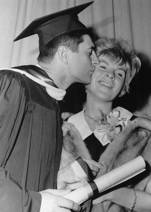 Carl Yastrzemski graduates from Merrimack College in 1966. (AP)