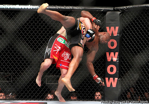 Bader scores another takedown against Rampage (Photo by Tracy Lee)
