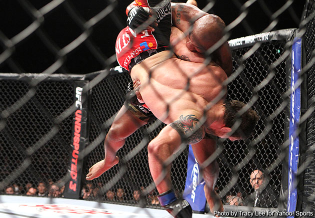 Rampage powerslams Bader in the first (Photo by Tracy Lee)